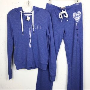 PINK VS Pullover & Pants XS Sweatsuit Bundle Blue